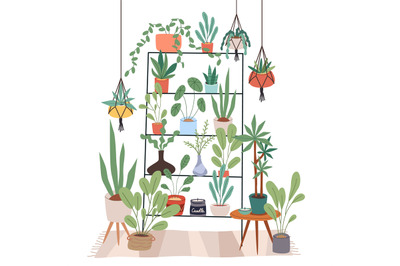 Indoor plants stand. Rack for houseplants. Home garden. Flowers on she