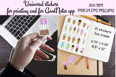 Stickers Print And Cut and GoodNotes,Summer food,Ice cream