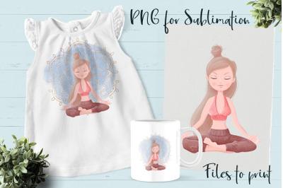 Yoga sublimation. Design for printing.