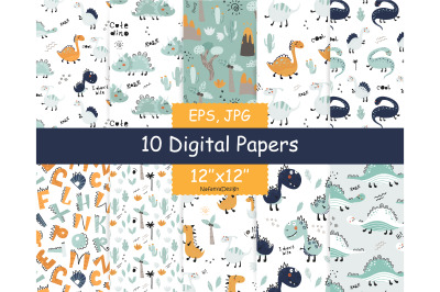Dinosaur digital paper pack