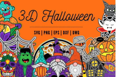 3D Halloween SVG Bundle