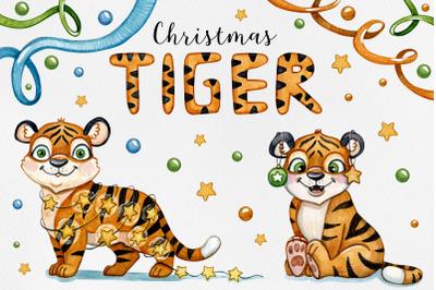 Watercolor set Tiger Christmas illustrations. Watercolor Art. Christma