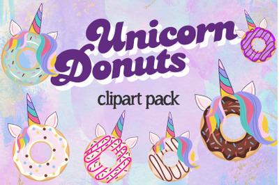 Unicorn donuts clipart
