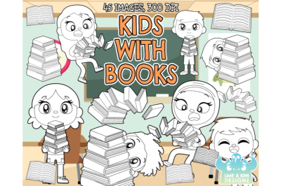 Kids With Books Digital Stamps - Lime and Kiwi Designs