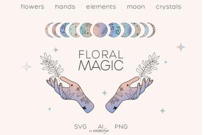 Floral magic line art & gradient