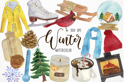 Watercolor Winter Clipart, Christmas Clipart, Wintertime Clipart, Xmas