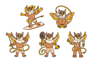 Griffin kid animal character with different hobbies
