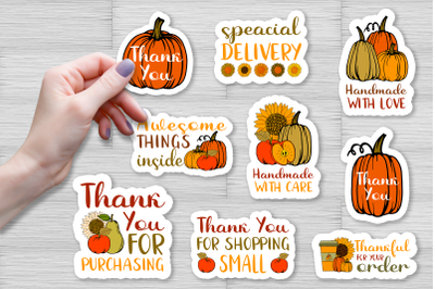 Autumn Small Business Stickers Pack, packaging labels PNG