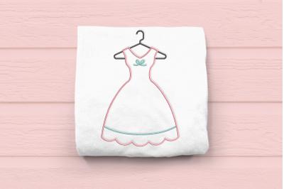 Vintage Dress on Hanger Outline | Embroidery
