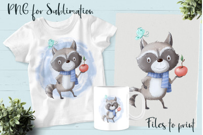 Cute raccoon sublimation. Design for printing.