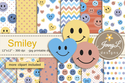 Smiley Face DIgital Papers and Clipart