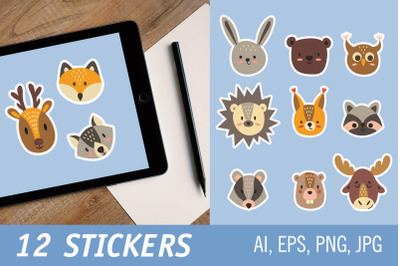 Cute faces of forest animals. Printable Stickers for Cricut