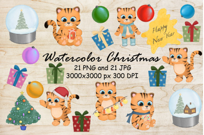 Watercolor clipart Cute Christmas Tiger.New year sublimation