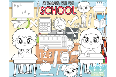 School Digital Stamps - Lime and Kiwi Designs