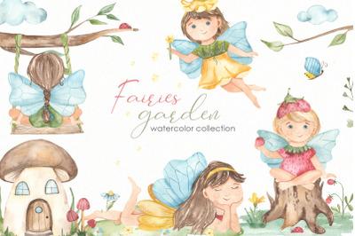 Fairies garden watercolor collection
