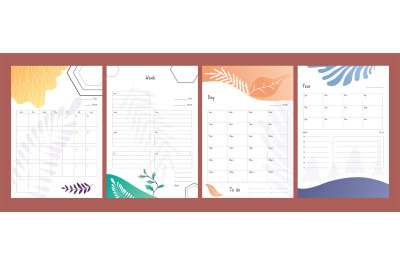 Planners set. To do lists, weekly and daily schedule template, year pl