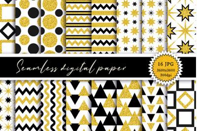 Seamless digital paper. Gold + black.