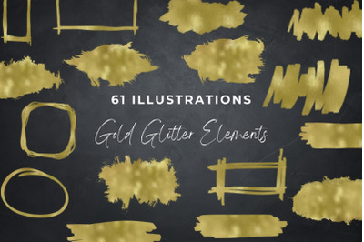 Gold Foil Elements Clipart, Brush Circle Strokes PNG