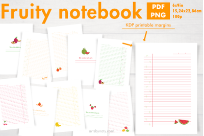 Fruity notebook printable KDP interior.