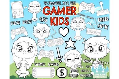 Gamer Kids Digital Stamps - Lime and Kiwi Designs