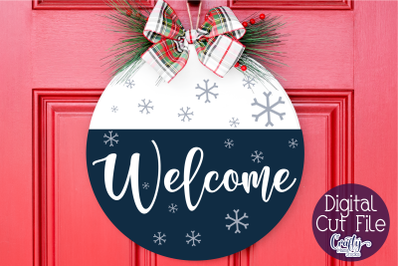 Christmas Svg, Christmas Round Sign, Winter Welcome Cut File
