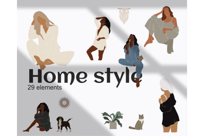 abstract girl, vector illustration, home drawing, black girl, african american, woman svg, furniture clipart, Girl at Home, woman bathroom, girl in pajamas, cat dog, boho docks, design elements