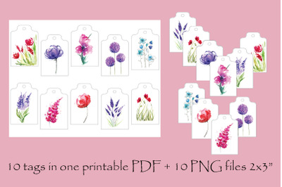 Cute set of gift tags with watercolor illustrations, 10 floral tags