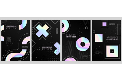 Holographic cards template. Gradient cover&2C; crystal liquid hologram po