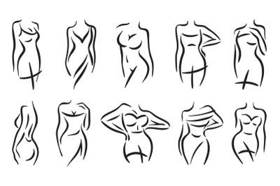 Female body silhouette line. Woman fashion set.