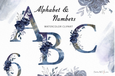 Floral alphabet, watercolor clipart with flowers