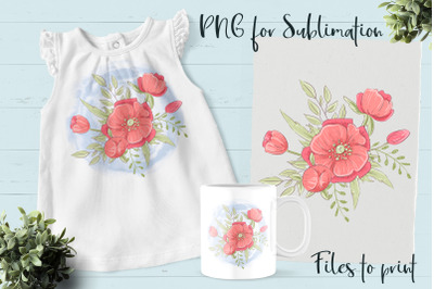 Red Flowers sublimation. Design for printing.