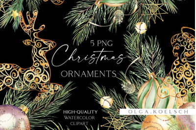 Gold Christmas ornaments clipart, Watercolor Christmas elements