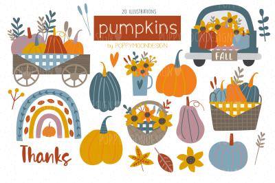Pumpkins clipart set