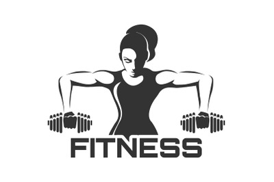 Woman with Dumbell Fitness Club Logo Design