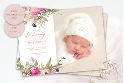 Birth Announcement Card Template #14