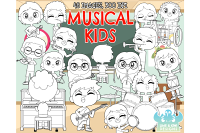 Musical Kids Digital Stamps - Lime and Kiwi Designs