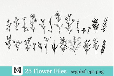 Flower Svg Bundle, Flower Single Line, Floral Svg