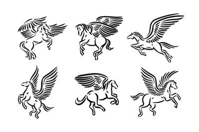 Pegasus illustration set.