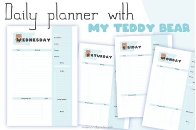 Daily planner with my Teddy Bear KDP interior.