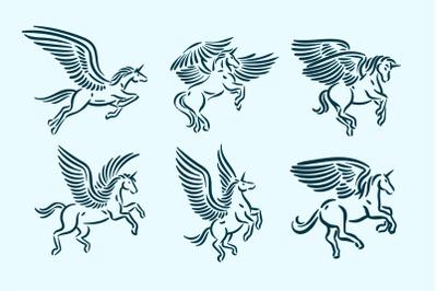Magic mythology animal unicorn, fantasy horse with wings logo icon vec