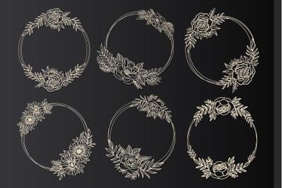 Flower wedding frame wreath