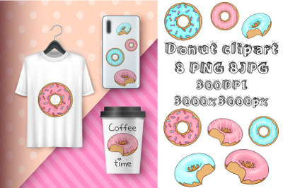 Donuts clipart.Colorful sublimation food.Sweet illustration