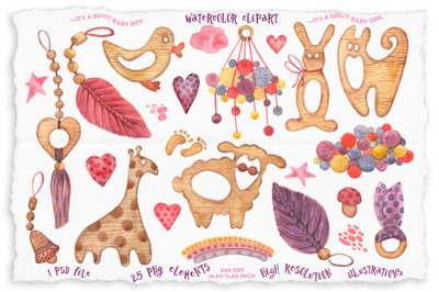 Watercolor baby wooden toys clipart