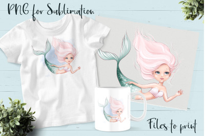 Mermaid sublimation. Design for printing.