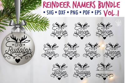 Christmas Reindeer Names Ornaments SVG Bundle