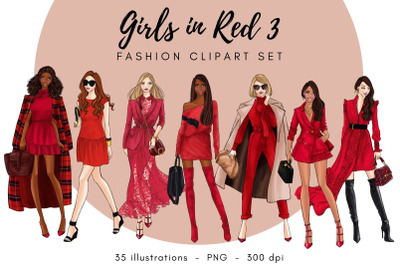 Girls in Red 3 - Fashion Clipart Set