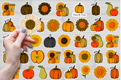 Autumn huge bundle stickers, pumpkin clipart PNG, JPG. Ready to cut.