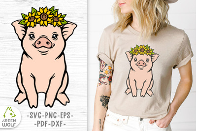 Pig with sunflower svg Cute pig svg Layered svg files Farm animals svg
