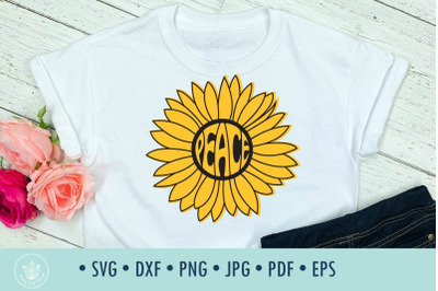 Sunflower Peace svg cut file typography