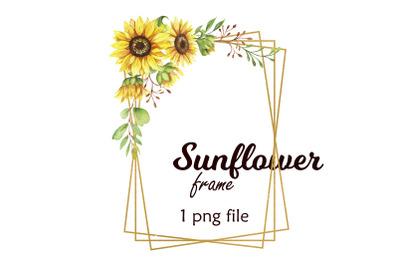 Watercolor Sunflower golden frame
